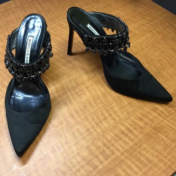 e608c82840c4 Manolo Blahnik black satin jeweled mule heel 39.5.  M 5aeca3b585e605023053990f